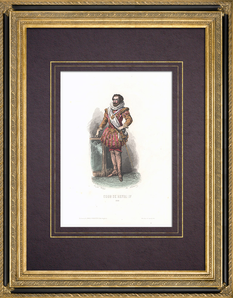 Antique Prints & Drawings | Costume of the Court of Henry IV of France (1600) | Intaglio print | 1854