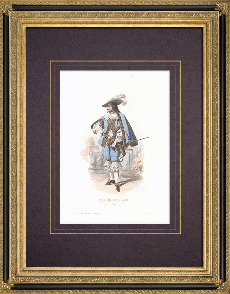 Antique Prints & Drawings | Costume of the Court of Louis XIII of France (1630) | Intaglio print | 1854