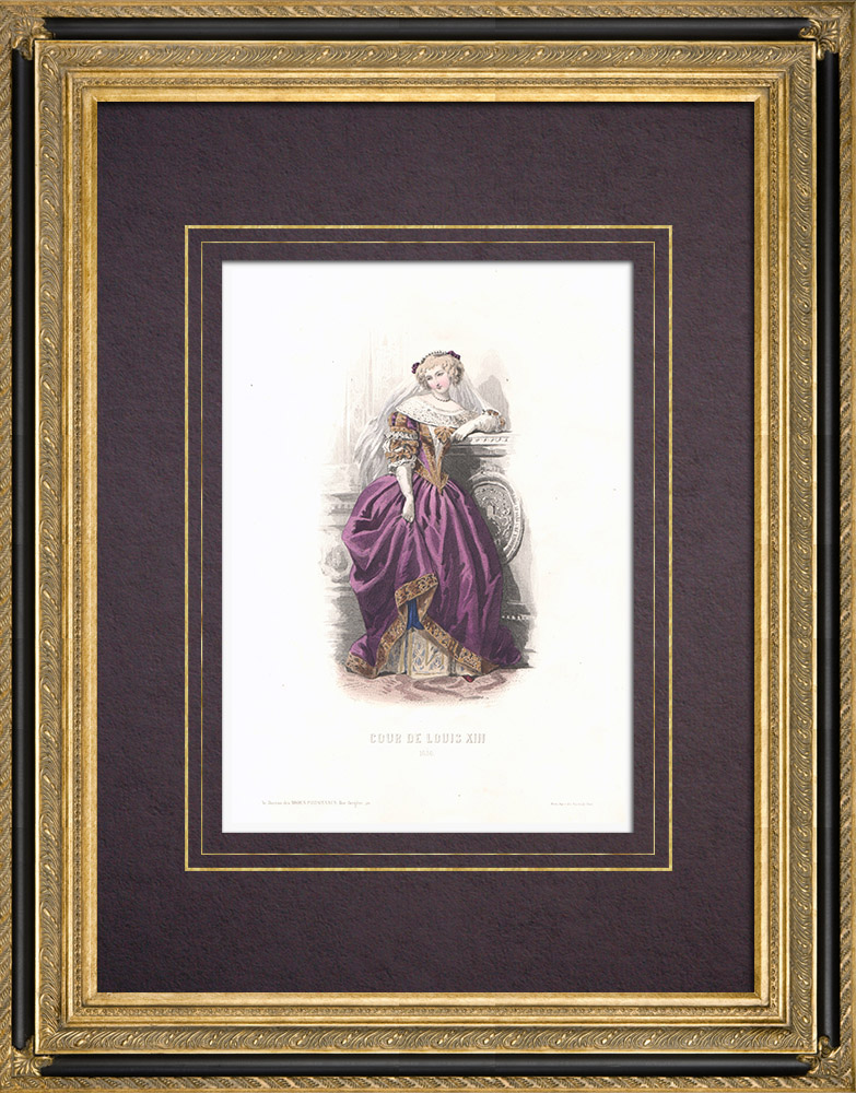 Antique Prints & Drawings | Costume of the Court of Louis XIII of France - Costume of woman (1680) | Intaglio print | 1854
