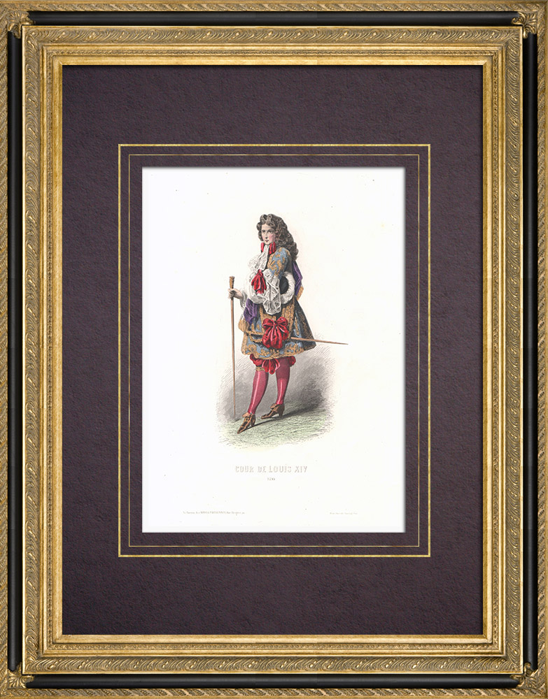 Stampe Antiche & Disegni | Costume della Corte di Luigi XIV di Francia (1690) | Stampa calcografica | 1854
