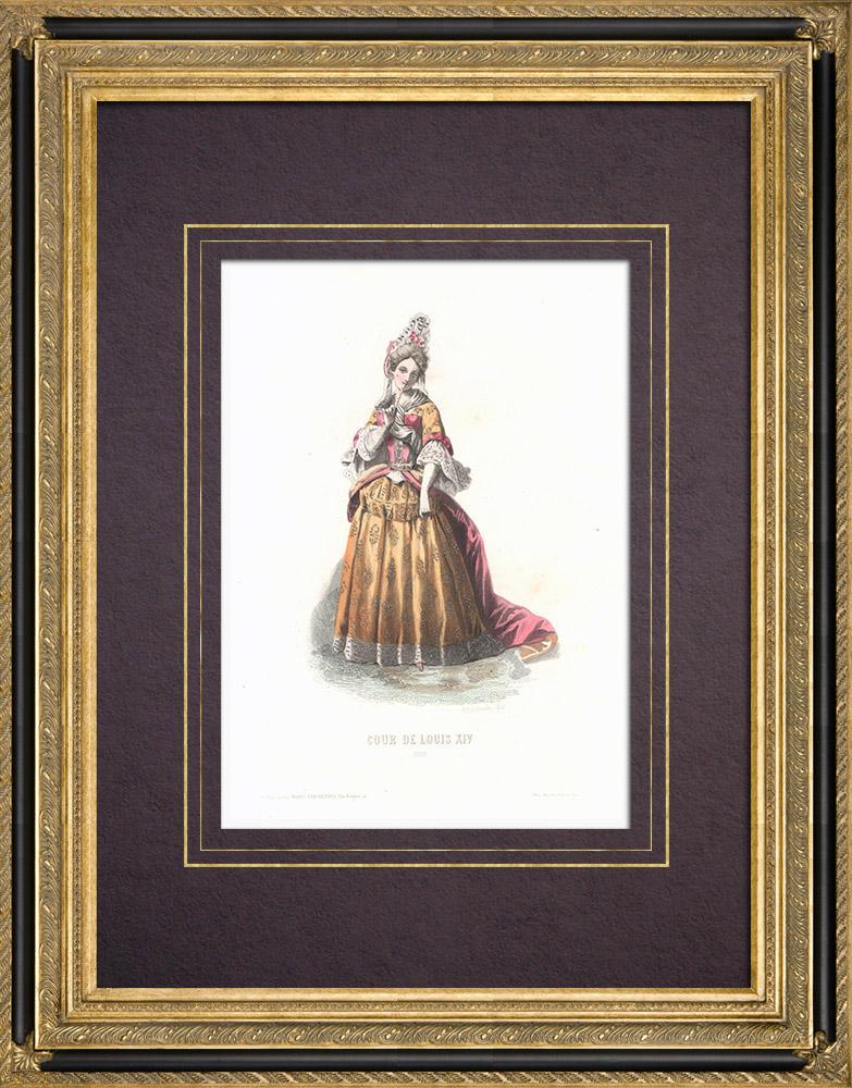 Gravures Anciennes & Dessins | Costume de la Cour de Louis XIV de France - Costume de femme (1690) | Taille-douce | 1854
