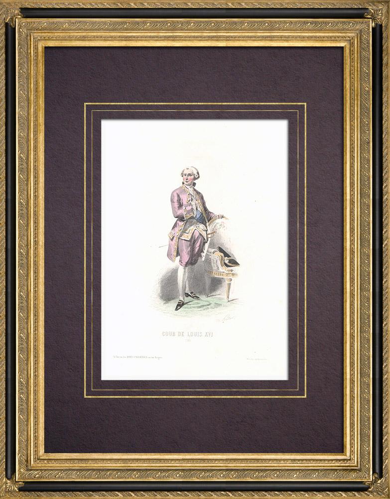 Stampe Antiche & Disegni | Costume della Corte di Luigi XVI di Francia - Costume di donna (1780) | Stampa calcografica | 1854