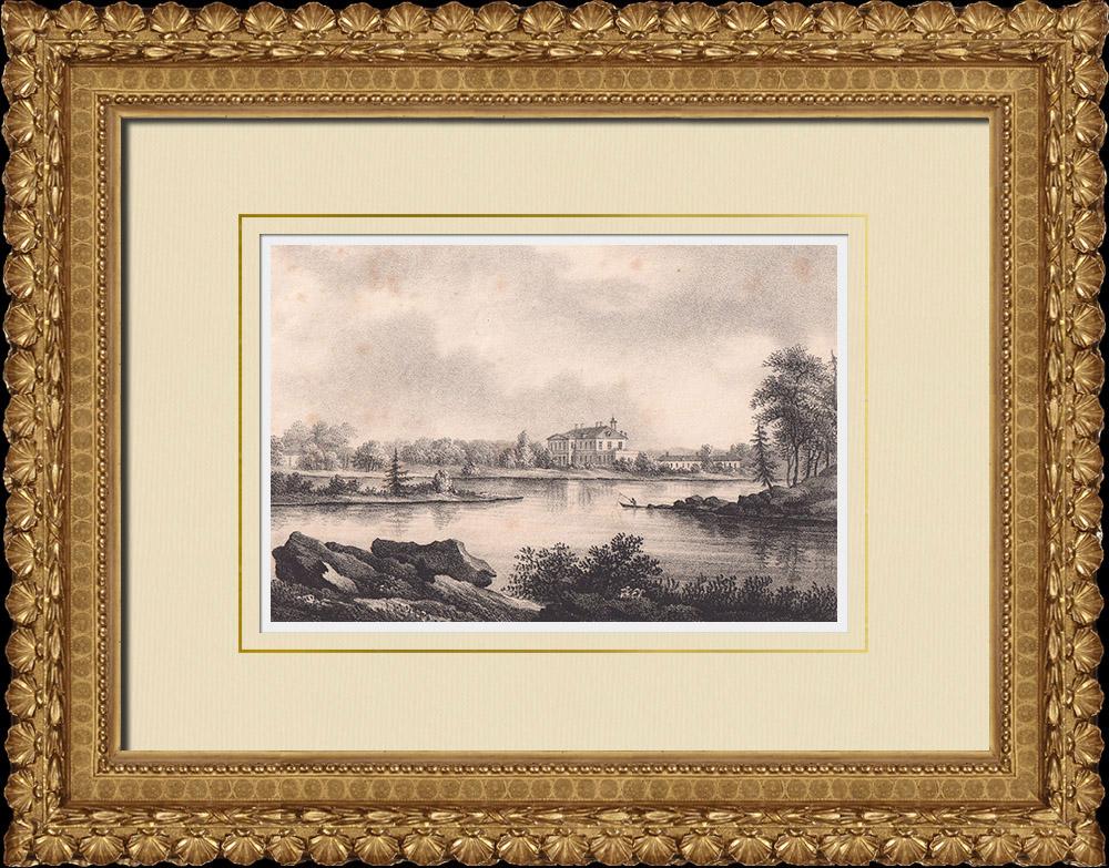 Grabados & Dibujos Antiguos | Vista de Gimo - Östhammar - Uppland (Suecia) | Litografía | 1840