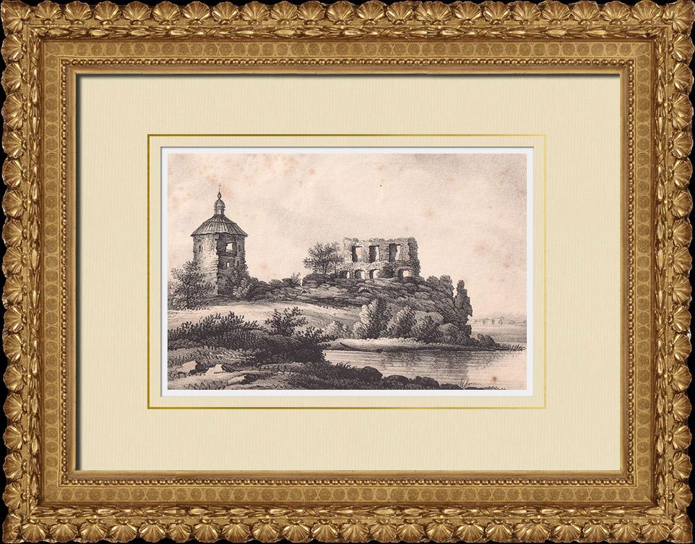 Stampe Antiche & Disegni | Rovine dell'ex castello Oxenstiern a Mörby - Norrtälje - Uppland  (Svezia) | Litografia | 1840