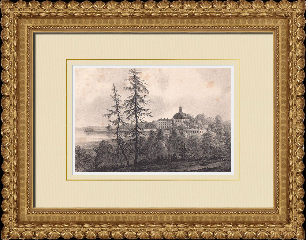 Stampe Antiche & Disegni | Castello Örbyhus - Tierp - Uppland (Svezia) | Litografia | 1840