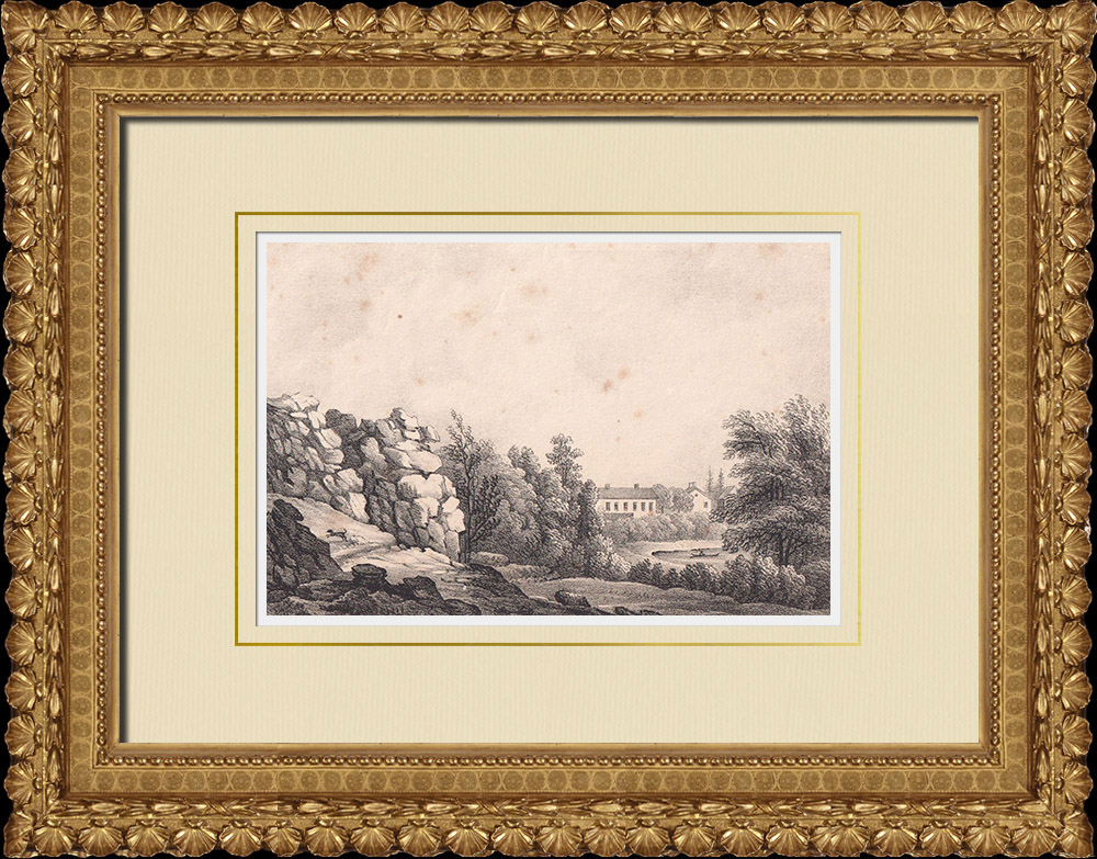 Antique Prints & Drawings | View of Lindholmens - Gothenburg - Västra Götaland - Uppland (Sweden) | Lithography | 1840