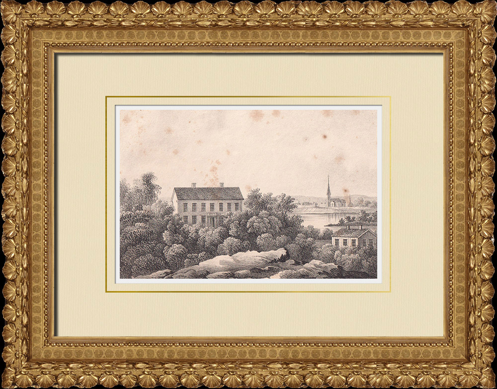 Antique Prints & Drawings | View of Bålsta - Håbo - Uppland - Uppsala (Sweden) | Lithography | 1840