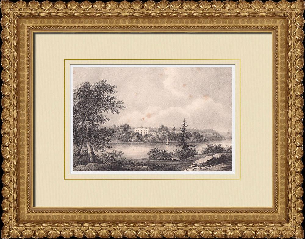Gravures Anciennes & Dessins | Manoir de Krusenberg - Knivsta - Uppland (Suède) | Lithographie | 1840