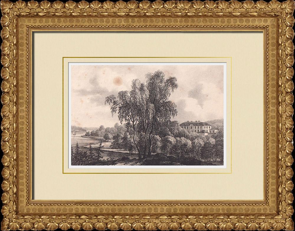 Antique Prints & Drawings | Rosersberg Castle - Sigtuna - Stockholm (Sweden) | Lithography | 1840