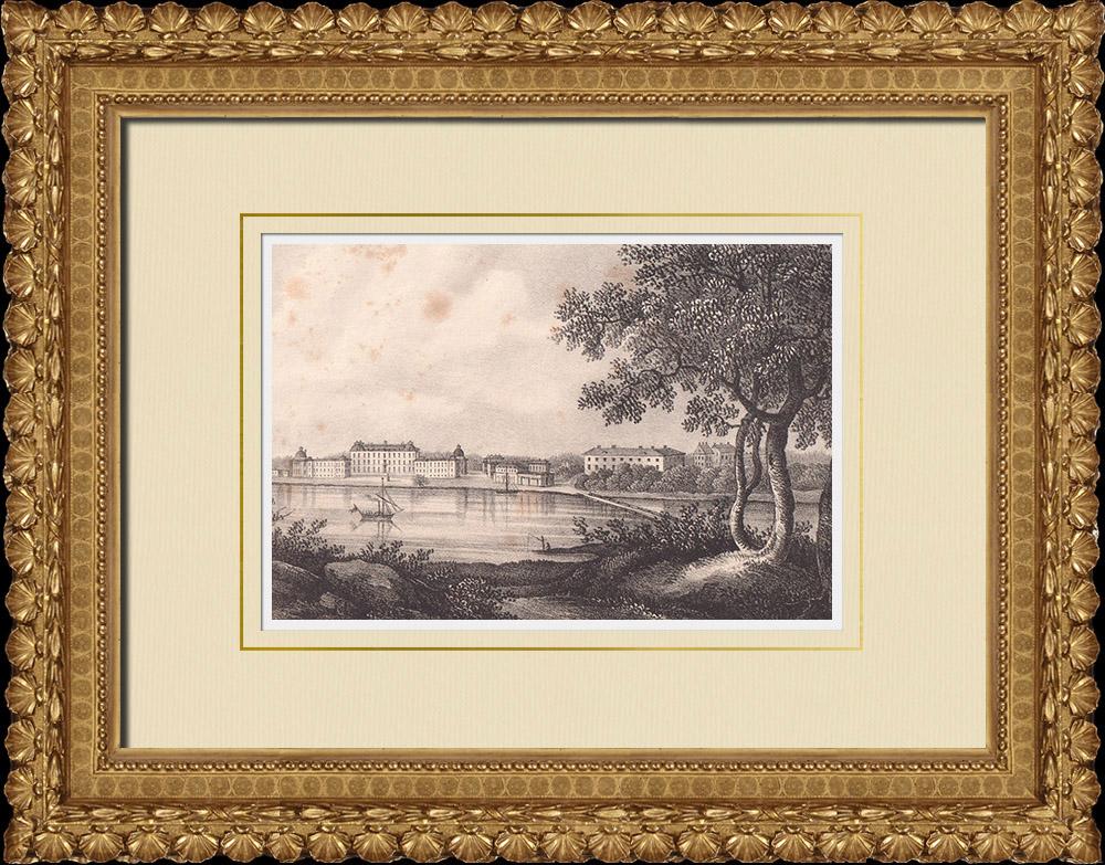 Antique Prints & Drawings | Drottningholm Palace - Ekerö - Stockholm (Sweden) | Lithography | 1840