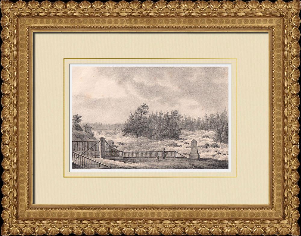 Antique Prints & Drawings   Älvkarleby Falls - Uppsala - Uppland (Sweden)   Lithography   1840