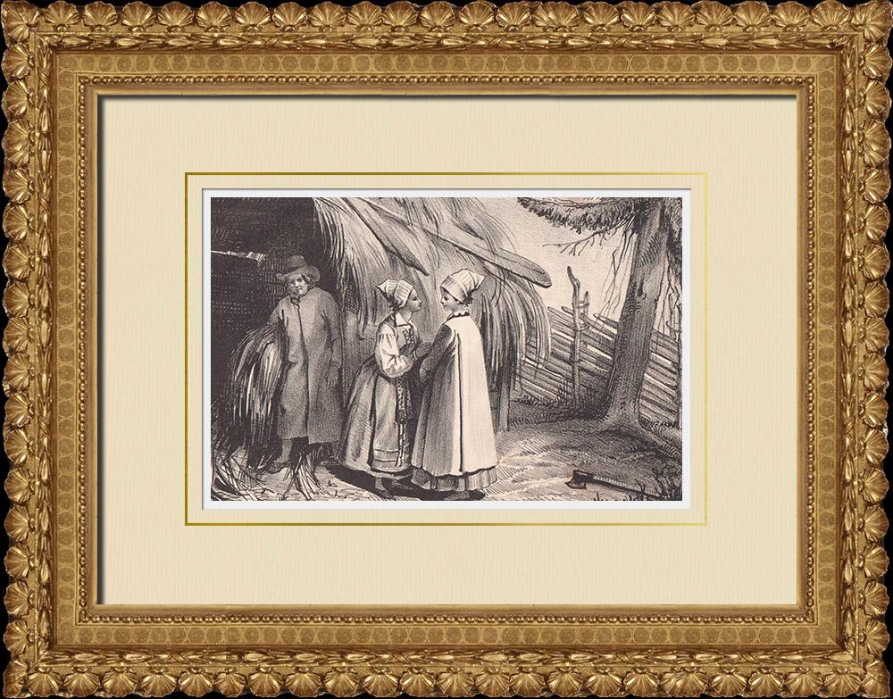 Stampe Antiche & Disegni | Wingåkersbor - Södermanland - Costume Tipico (Svezia) | Litografia | 1840