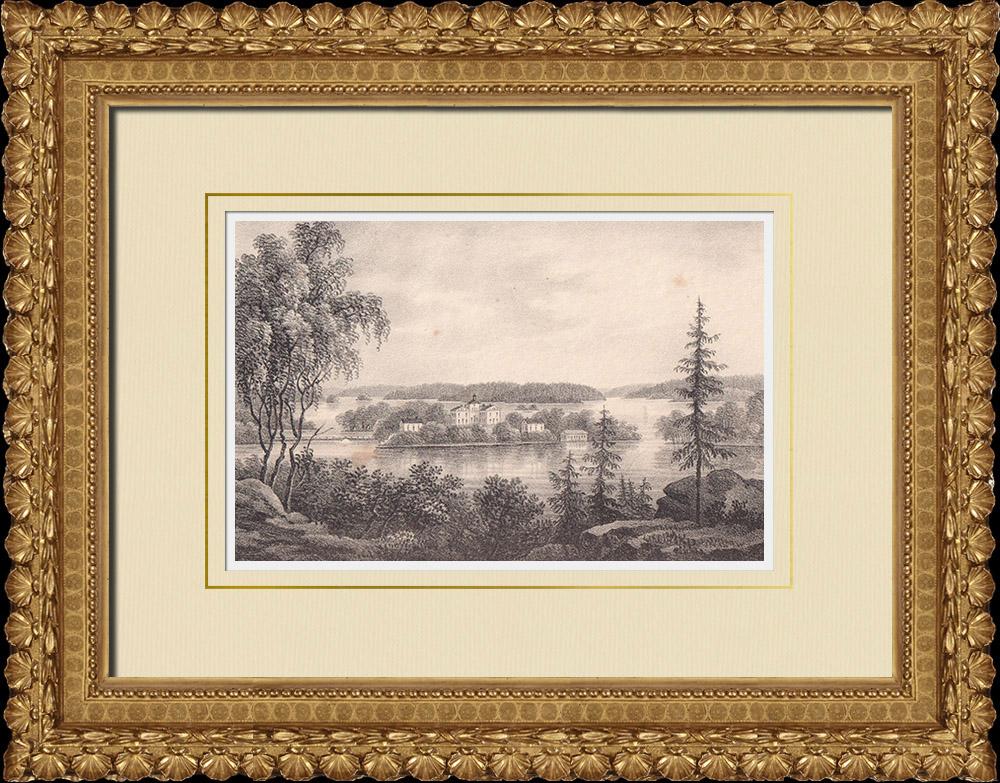 Grabados & Dibujos Antiguos | Castillo de Vibyholm - Flen - Södermanland (Suecia) | Litografía | 1840