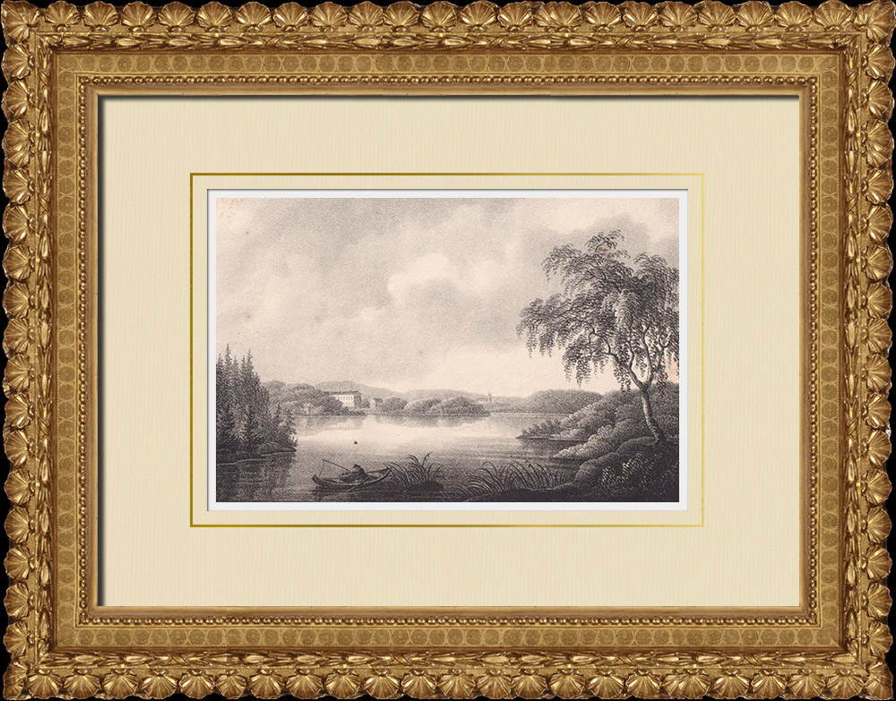 Gravures Anciennes & Dessins | Baie de Södra Björkfjärden - Canal de Södertälje - Södermanland - Sudermanie (Suède) | Lithographie | 1840