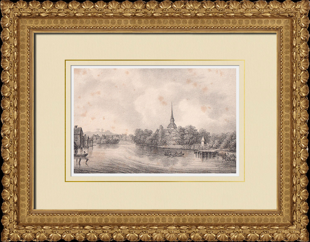 Antique Prints & Drawings | View of Eskilstuna - Södermanland (Sweden) | Lithography | 1840