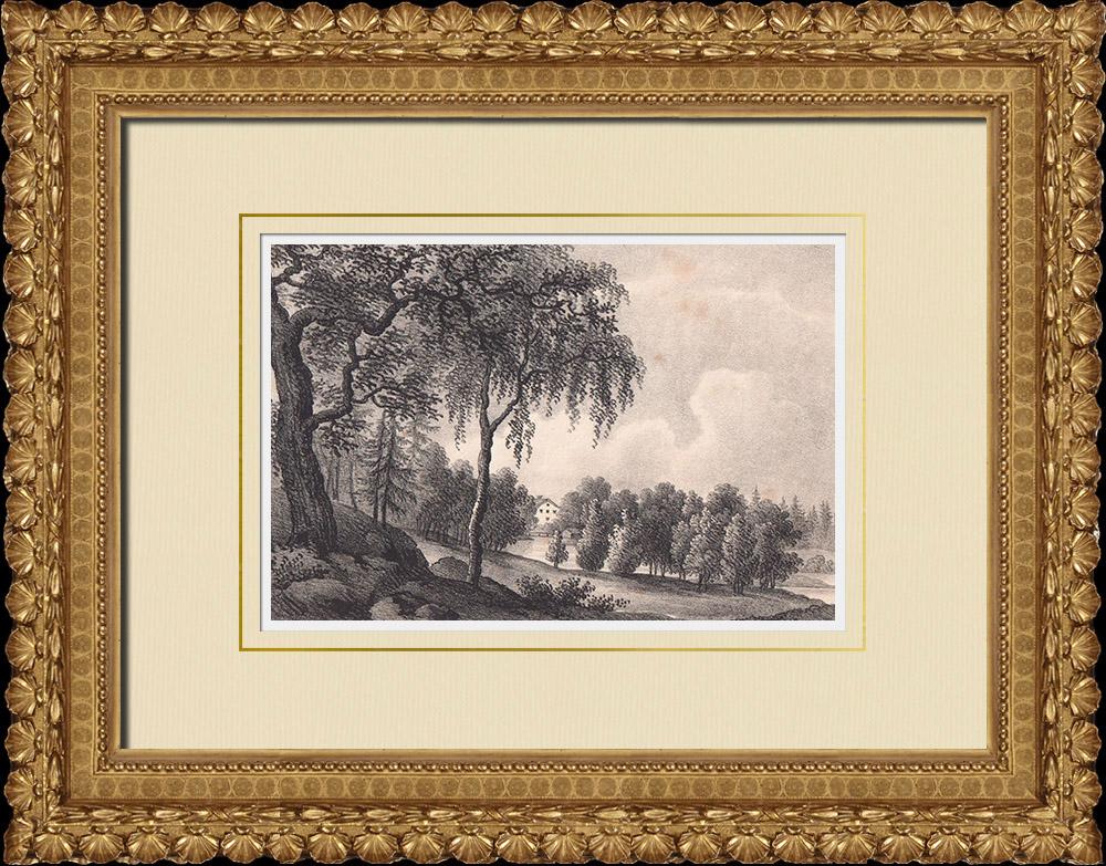Antique Prints & Drawings | Kristineholm mansion - Helgona - Södermanland (Sweden) | Lithography | 1840