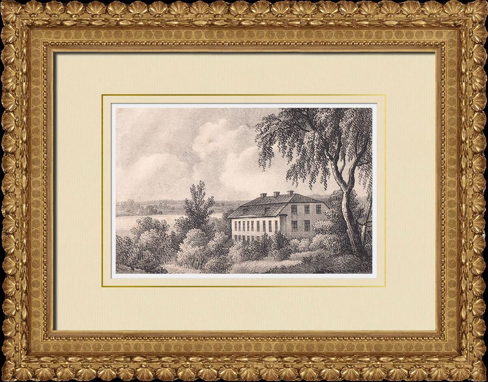 Stampe Antiche & Disegni | Mansion Ulvhäll - Strängnäs - Södermanland (Svezia) | Litografia | 1840