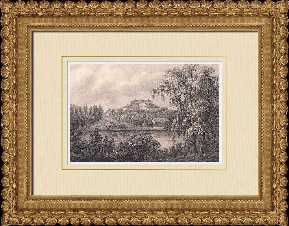 Antique Prints & Drawings | Danbyholm mansion - Katrineholms - Södermanland (Sweden) | Lithography | 1840