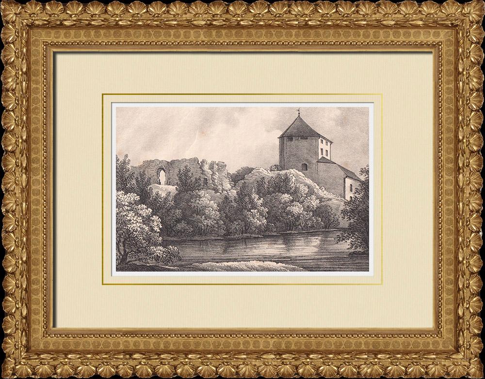 Stampe Antiche & Disegni | Castello di Nyköping - Medievale - Södermanland (Svezia) | Litografia | 1840