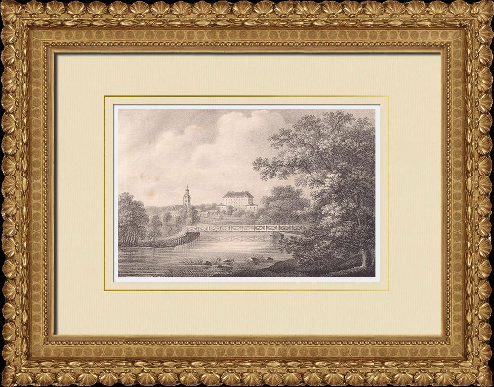 Antique Prints & Drawings   View of Örebro - Hjälmaren lake - Castle - Church - Närke (Sweden)   Lithography   1840