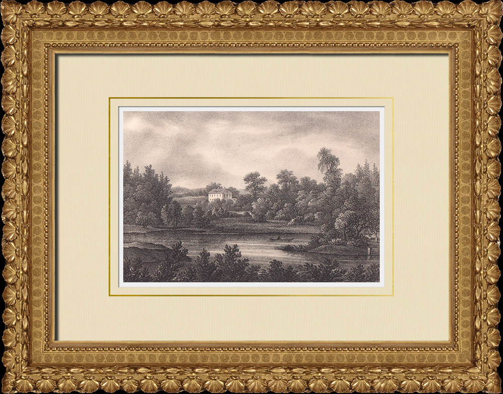 Gravures Anciennes & Dessins   Vue de Tjelfvestad - Snaflonda - Närke (Suède)   Lithographie   1840