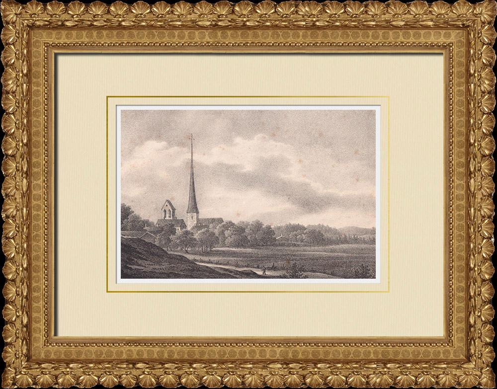 Antique Prints & Drawings | Kumla Church - Orebro - Närke (Sweden) | Lithography | 1840