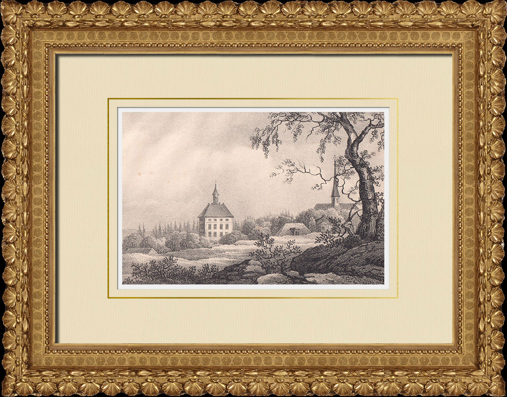 Antique Prints & Drawings | Engsö Castle - Västerås - Västmanland (Sweden) | Lithography | 1840