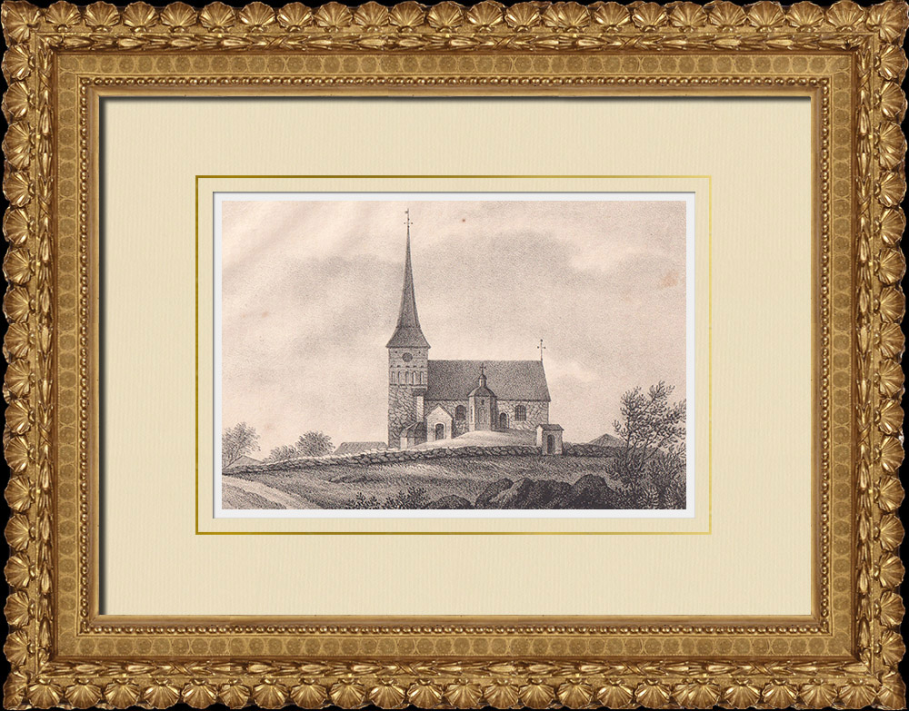 Antique Prints & Drawings | Romfartuna church - Västerås - Norrbo - Västmanland (Sweden) | Lithography | 1840