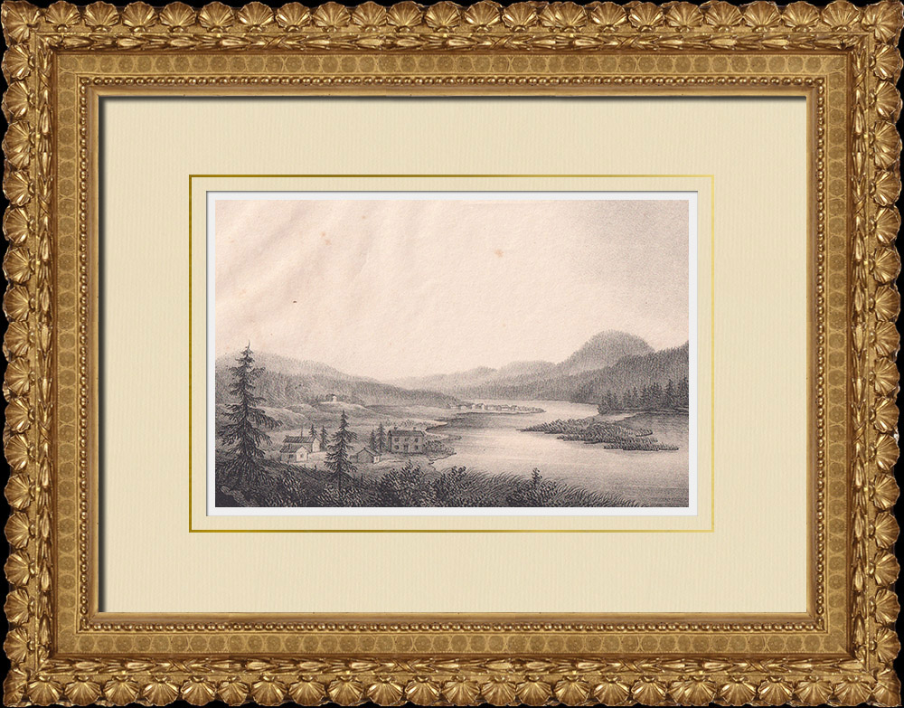 Antique Prints & Drawings   View of Öfra Elfdalen - Klarelfven - Wermland (Sweden)   Lithography   1840