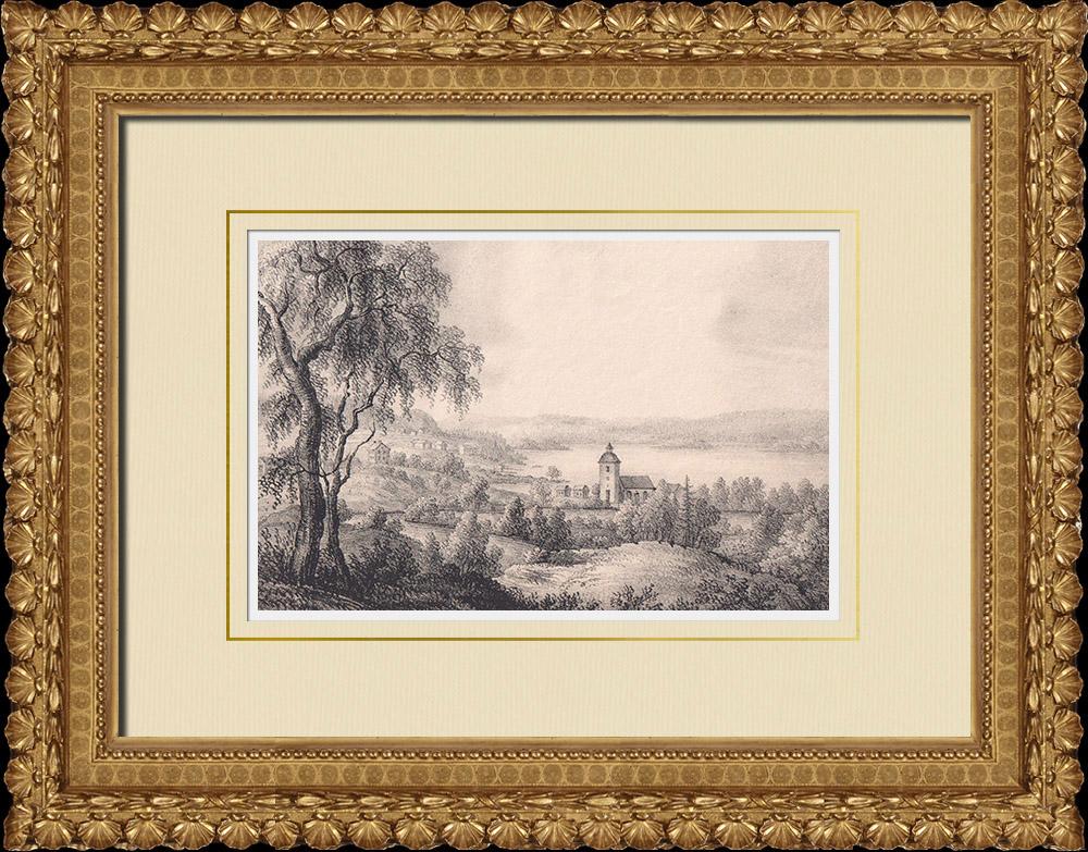 Stampe Antiche & Disegni | Chiesa di Köla - Jösse - Värmland - Lago Hugn - Värmland (Svezia) | Litografia | 1840