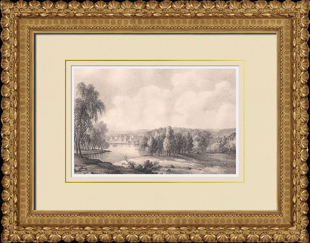 Antique Prints & Drawings | View of Arvika - Värmland (Sweden) | Lithography | 1840