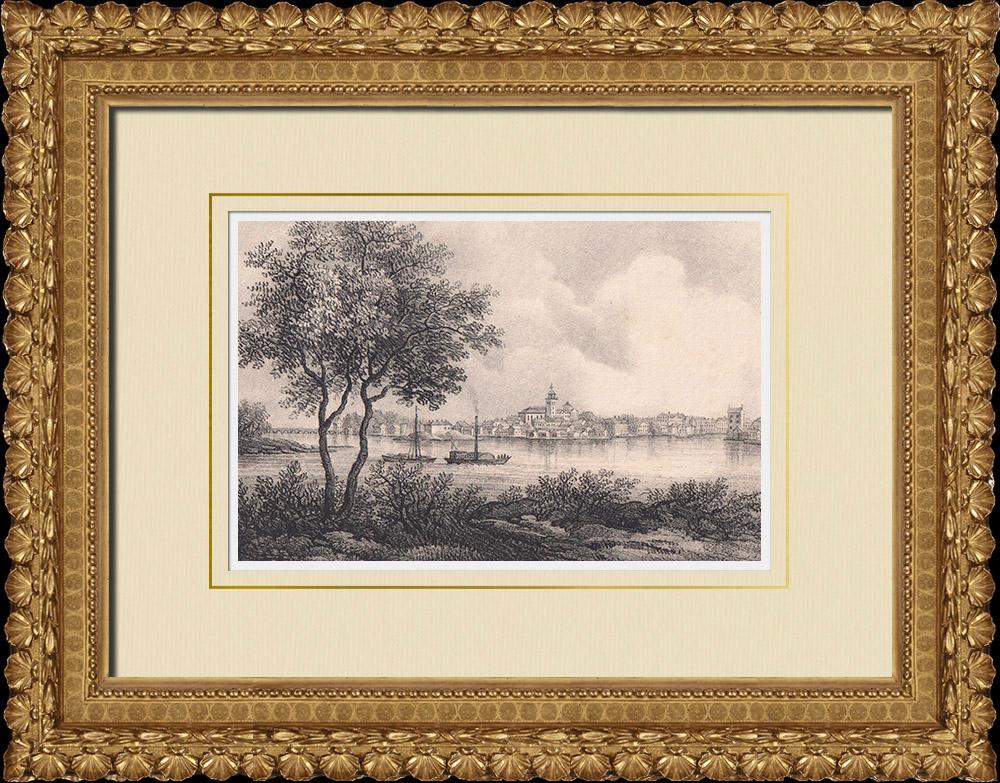 Gravures Anciennes & Dessins   Vue de Karlstad - Värmland (Suède)   Lithographie   1840