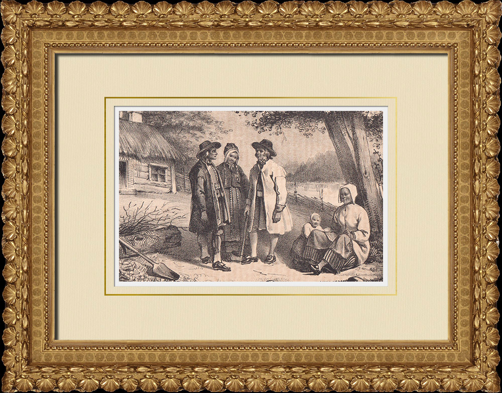 Antique Prints & Drawings   Dalarna - Traditional Costume (Sweden)   Lithography   1840