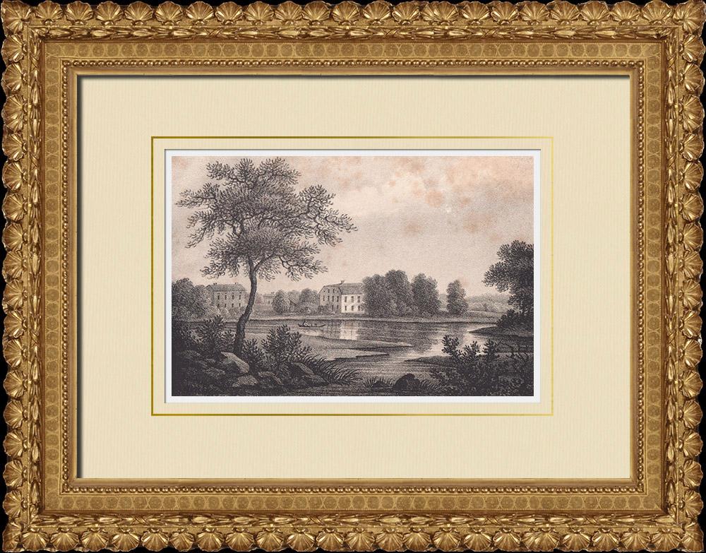 Antique Prints & Drawings | Ons mansion - Folkärna Church - Dalarna (Sweden) | Lithography | 1840