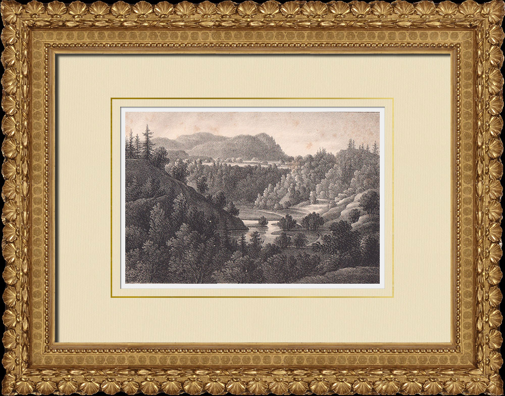 Antique Prints & Drawings | Valley of Säter - Bispersklack - Dalarna (Sweden) | Lithography | 1840