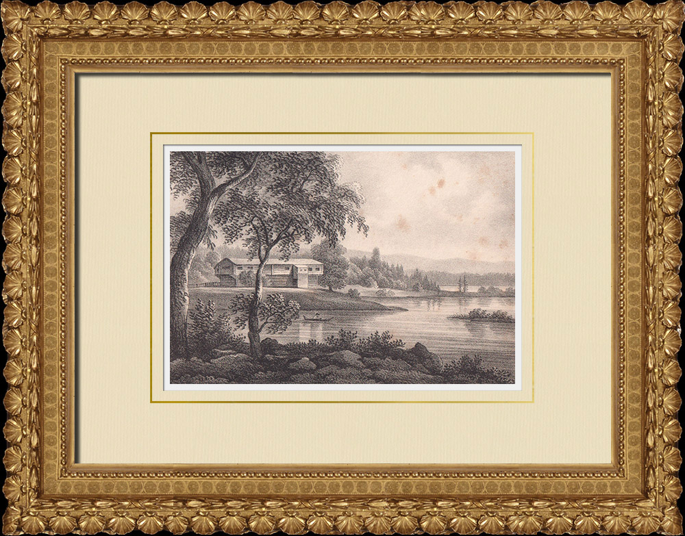 Antique Prints & Drawings | View of Ornäs - Borlänge - Dalarna (Sweden) | Lithography | 1840