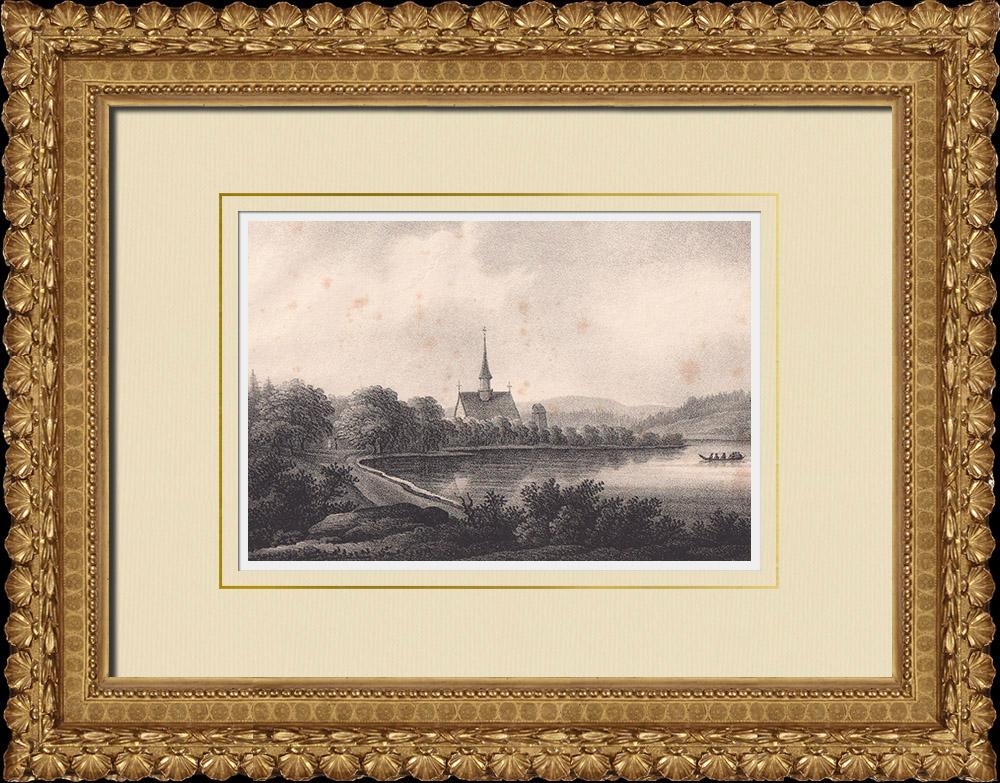 Antique Prints & Drawings   Torsång Church - Dalarna (Sweden)   Lithography   1840