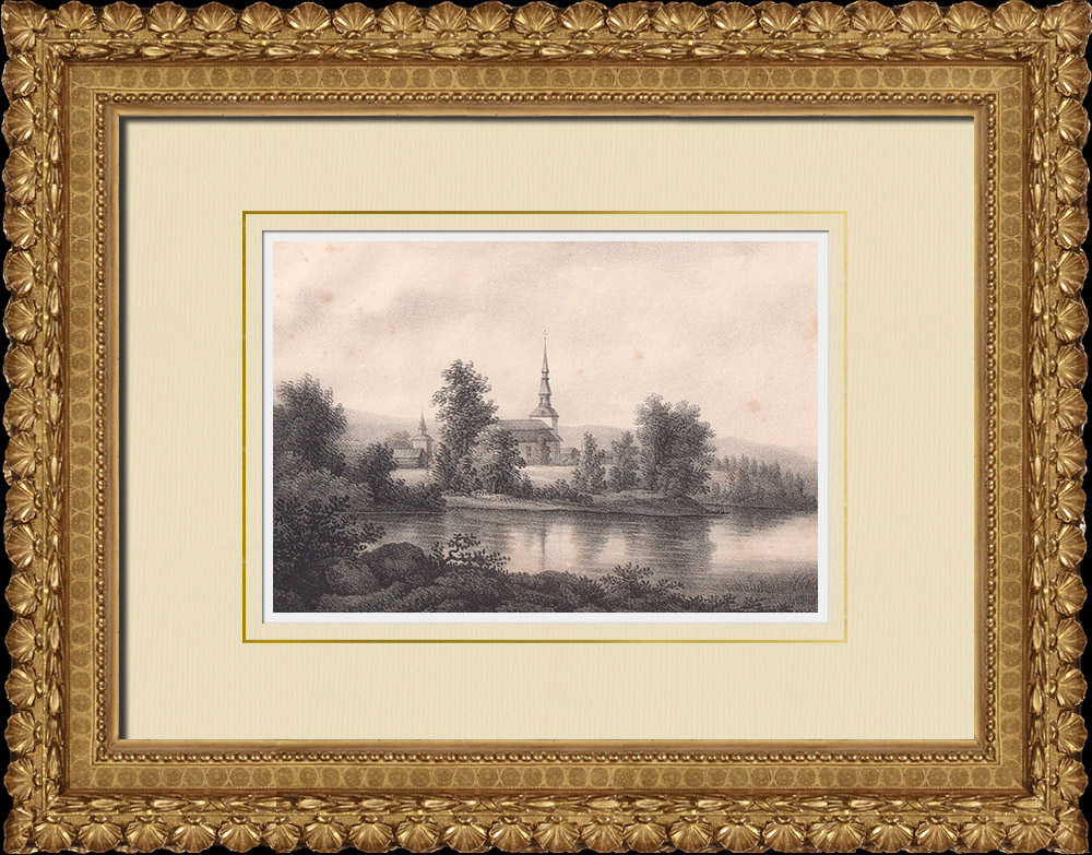 Antique Prints & Drawings | Mora Church - Dalarna (Sweden) | Lithography | 1840