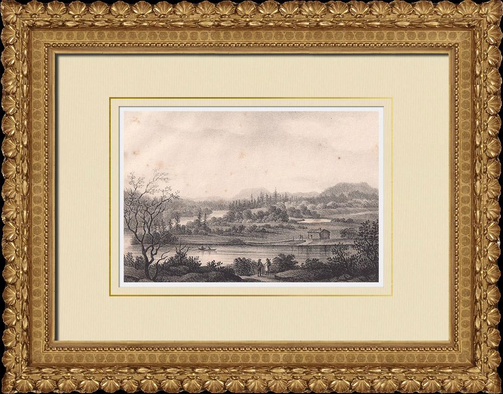 Grabados & Dibujos Antiguos | Vista del Río Dal - Båstad - Dalecarlia (Suecia) | Litografía | 1840