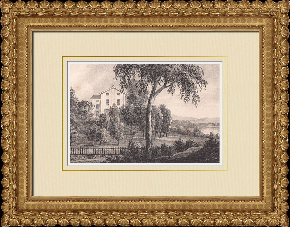 Antique Prints & Drawings | Rottneby mansion - Falun - Dalarna (Sweden) | Lithography | 1840
