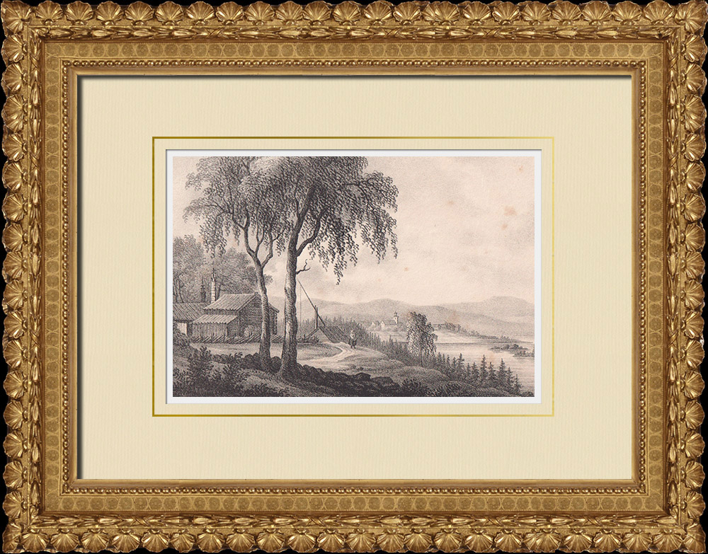 Stampe Antiche & Disegni | Veduta di Sollerön - Lago Siljan - Mora - Dalarna (Svezia) | Litografia | 1840