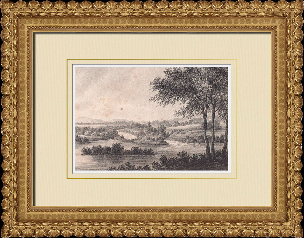 Antique Prints & Drawings   Overview of Dalälven River - Båstad - Dalarna (Sweden)   Lithography   1840
