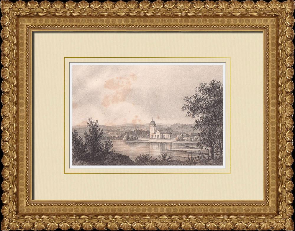 Stampe Antiche & Disegni | Chiesa di Rättvik - Dalarna (Svezia) | Litografia | 1840
