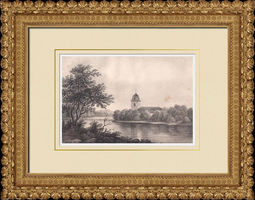 Gravures Anciennes & Dessins | Eglise de Husby - Västerås - Dalécarlie (Suède) | Lithographie | 1840
