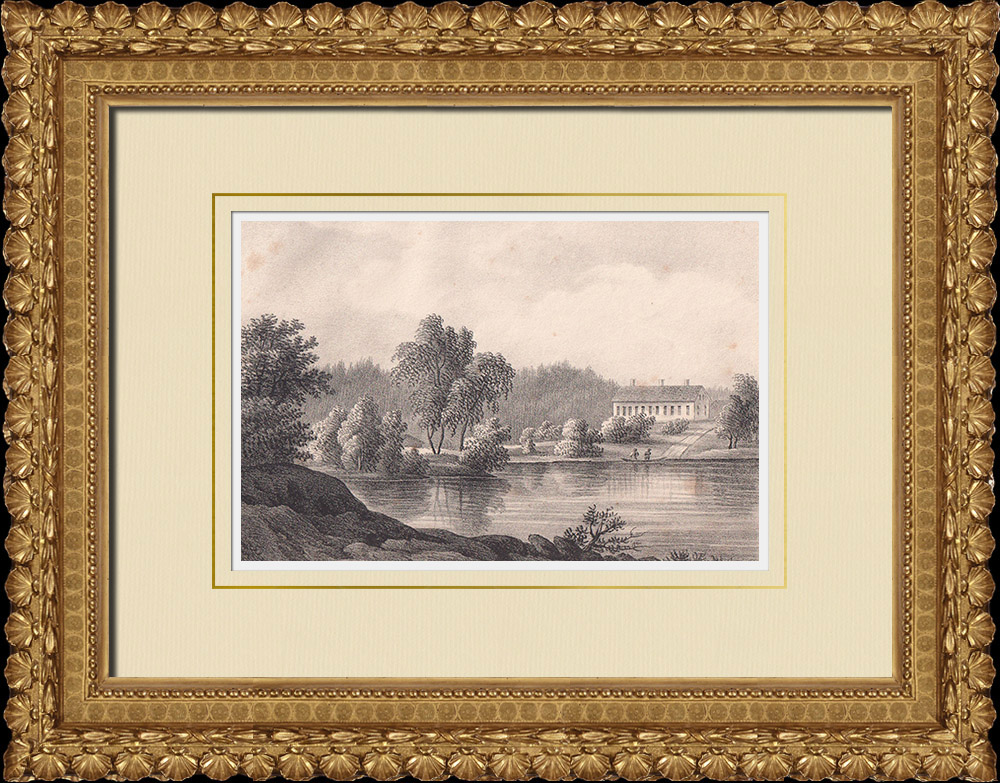 Antique Prints & Drawings | View of Nås - Dalälven River - Båstad - Dalarna (Sweden) | Lithography | 1840