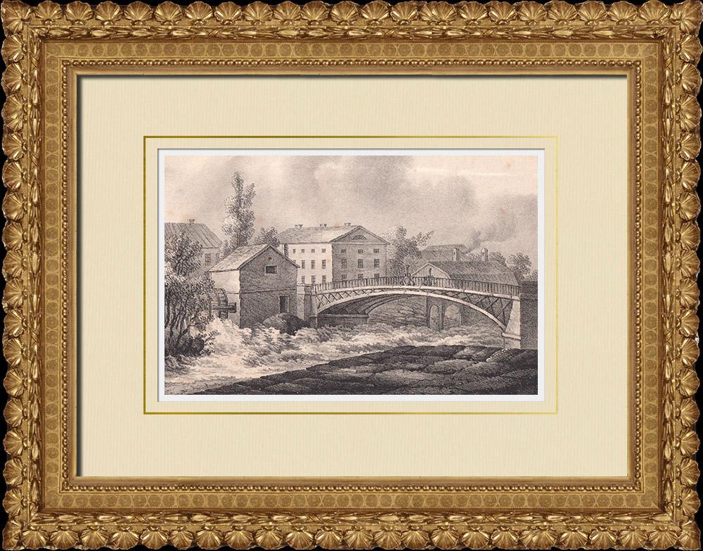 Antique Prints & Drawings | Jernbron Bridge in Norrköping - Fyrisån - Ostergötland (Sweden) | Lithography | 1840