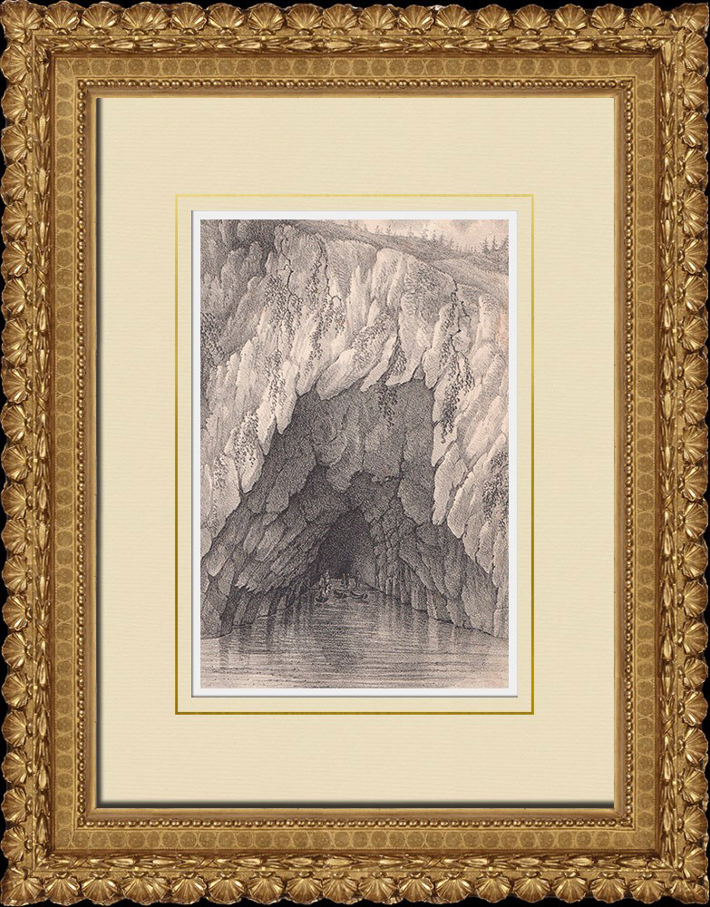Antique Prints & Drawings | Cave of Rödgavel - Omberg - Östergötland (Sweden) | Lithography | 1840