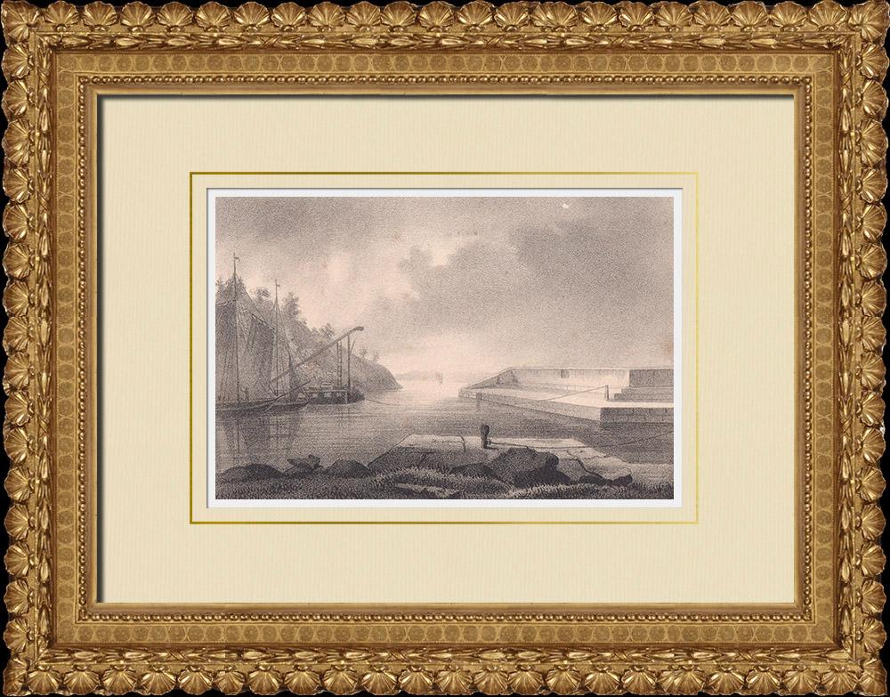 Gravures Anciennes & Dessins   Vue de Borghamn - Vadstena - Ostergötland (Suède)   Lithographie   1840