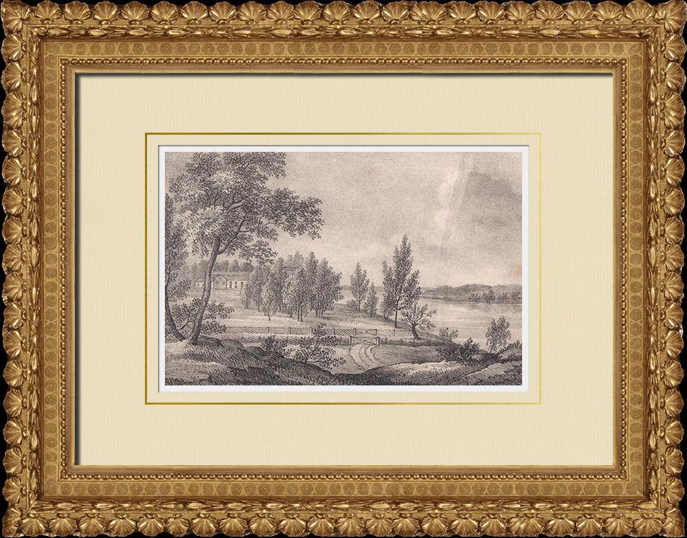 Stampe Antiche & Disegni | Maniero di Duseborg - Linköping - Östergötland (Svezia) | Litografia | 1840
