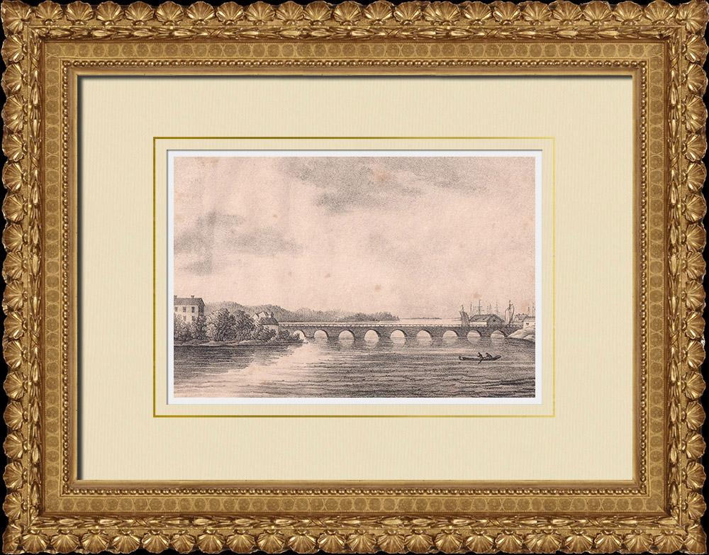 Antique Prints & Drawings | View of Motala - Motala Ström - Canal Göta - Östergötland (Sweden) | Lithography | 1840